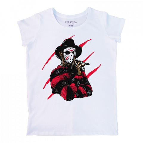 Freddy Krueger Jason Killer baskılı tasarım tişört. %100 pamuklu baskılı bayan tişört. Presstish tasarım baskılı tişört çeşitleri. Hediyelik kadın tişört. Tişört baskı.
