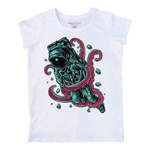 Alien Octopus baskılı tasarım tişört. %100 pamuklu baskılı bayan tişört. Presstish tasarım baskılı tişört çeşitleri. Hediyelik kadın tişört. Tişört baskı. Baskılı tshirt.