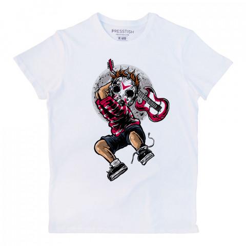 Jason Guitar Killer baskılı tasarım erkek tişört. %100 pamuklu baskılı tişört. Presstish organik baskılı tasarım tişört çeşitleri. Hediyelik tasarım tshirt. Tişört baskı.