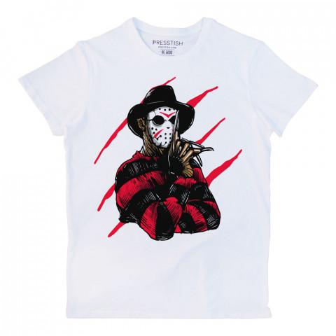 Freddy Krueger Jason Killer baskılı tasarım tişört. %100 pamuklu baskılı tişört. Presstish erkek tasarım baskılı tişört çeşitleri. Hediyelik tasarım tshirt. Tişört baskı.