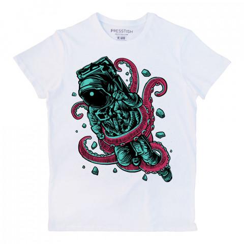 Alien Octopus baskılı tasarım tişört. %100 pamuklu baskılı tişört. Presstish organik erkek tasarım baskılı tişört çeşitleri. Hediyelik tasarım tshirt. Tişört baskı.