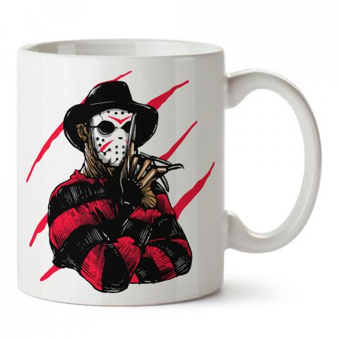 Freddy Krueger Jason Killer tasarım baskılı porselen kupa bardak (mug). Presstish marka resimli hediyelik kupa bardak modeli. Tasarım kahve kupası. Baskılı mug.