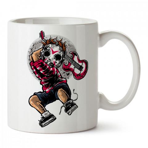 Jason Guitar Killer baskılı tasarım porselen kupa bardak (mug). Presstish marka resimli hediyelik kupa bardak modeli. Tasarım kahve kupası. Baskılı mug.