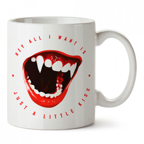 Just A Little Kiss vampir öpücük baskılı tasarım porselen kupa bardak (mug). Presstish marka resimli hediyelik kupa bardak modeli. Tasarım kahve kupası. Baskılı mug.