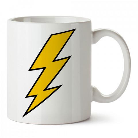 Thunder şimşek yıldırım baskılı tasarım porselen kupa bardak (mug). Presstish marka resimli hediyelik kupa bardak modeli. Tasarım kahve kupası. Baskılı mug.
