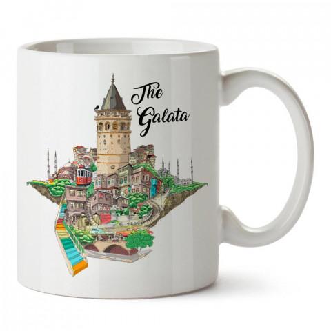 The Galata, Galata Kulesi baskılı tasarım porselen kupa bardak (mug). Presstish marka resimli hediyelik kupa bardak modeli. Tasarım kahve kupası. Baskılı mug.