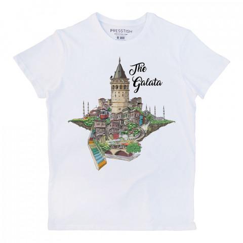 The Galata baskılı tasarım tişört. %100 pamuklu baskılı tişört. Presstish organik erkek tasarım baskılı tişört çeşitleri. Hediyelik tasarım tshirt. Tişört baskı.