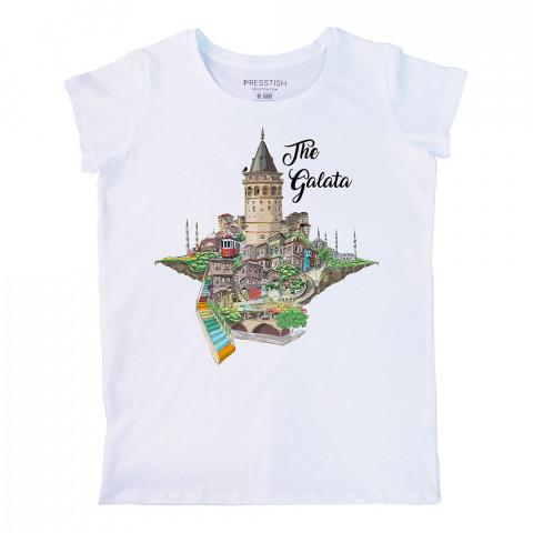 The Galata baskılı tasarım tişört. %100 pamuklu baskılı bayan tişört. Presstish tasarım baskılı tişört. Hediyelik kadın tişört. Tişört baskı. Baskılı tasarım tshirt.