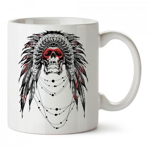 Ornate Skull, kuru kafa baskılı tasarım porselen kupa bardak (mug). Presstish marka resimli hediyelik kupa bardak modeli. Tasarım kahve kupası. Baskılı mug.