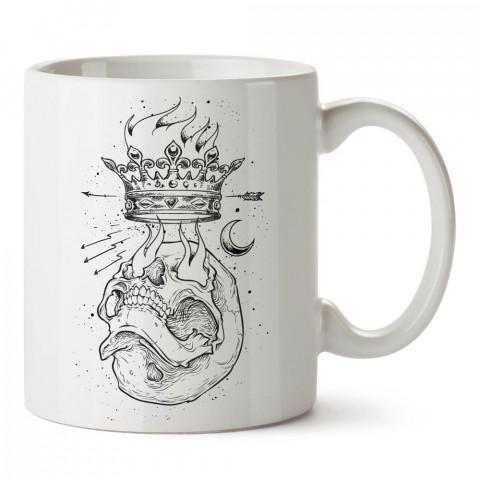 Crown Ambition, kuru kafalı baskılı tasarım porselen kupa bardak (mug). Presstish marka resimli hediyelik kupa bardak modeli. Tasarım kahve kupası. Baskılı mug.