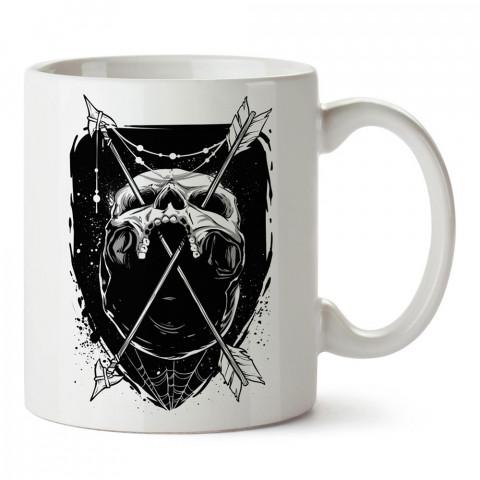 Skull Trap, kurukafa baskılı tasarım porselen kupa bardak (mug). Presstish marka resimli hediyelik kupa bardak modeli. Tasarım kahve kupası. Baskılı mug.