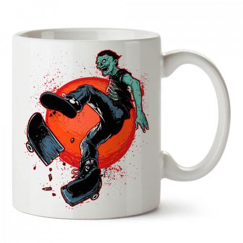 Skate Like A Zombie, zombi baskılı tasarım porselen kupa bardak (mug). Presstish marka resimli hediyelik kupa bardak modeli. Tasarım kahve kupası. Baskılı mug.