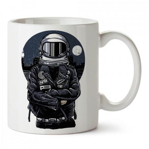 Nasa Biker, astronot baskılı tasarım porselen kupa bardak (mug). Presstish marka resimli hediyelik kupa bardak modeli. Tasarım kahve kupası. Baskılı mug.