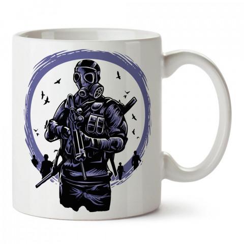 Toxic Dawn, zehirli şafak baskılı tasarım porselen kupa bardak (mug). Presstish marka resimli hediyelik kupa bardak modeli. Tasarım kahve kupası. Baskılı mug.