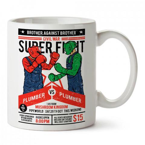 Blood Plumbers dövüş maçı baskılı tasarım porselen kupa bardak (mug). Presstish marka resimli hediyelik kupa bardak modeli. Tasarım kahve kupası. Baskılı mug.