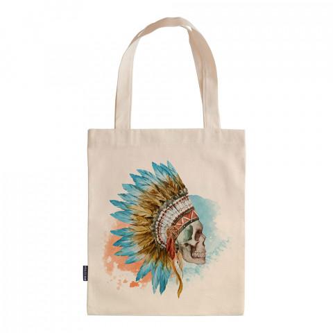 American Indian Skull tasarım baskılı ham bez çanta. 35x41. Hediyelik bez çanta modelleri. En güzel bez çantalar. Dayanıklı bez çantalar. Kuru kafa desenli bez çanta.