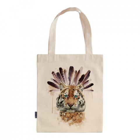 American Indian Tiger tasarım baskılı ham bez çanta. 35x41. Hediyelik bez çanta modelleri. En güzel bez çantalar. Kaplanlı bez çanta. Dayanıklı organik baskılı bez çanta.