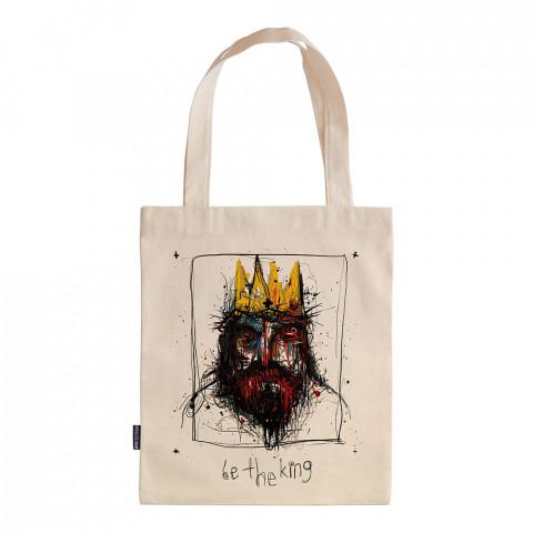 Be The King tasarım baskılı ham bez çanta. 35x41. Hediyelik bez çanta modelleri. En güzel bez çantalar. Dayanıklı, modaya uygun bez çantalar. Organik baskılı bez çanta.