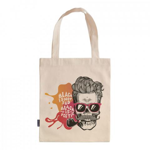 Black Is Not Sad tasarım baskılı ham bez çanta. 35x41. Hediyelik bez çanta modelleri. En güzel bez çantalar. Dayanıklı kuru kafalı bez çanta. Organik baskılı bez çanta.