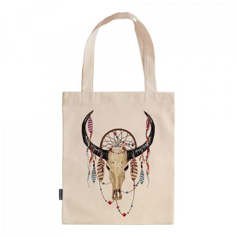 Boho Buffalo Skull tasarım baskılı ham bez çanta. 35x41. Hediyelik bez çanta modelleri. En güzel bez çantalar. Dayanıklı, tarz bez çantalar. Organik baskılı bez çanta.