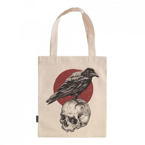 Crown Nest tasarım baskılı ham bez çanta. 35x41. Hediyelik bez çanta modelleri. En güzel bez çantalar. Dayanıklı, karga desenli bez çantalar. Kuru kafa baskılı bez çanta.