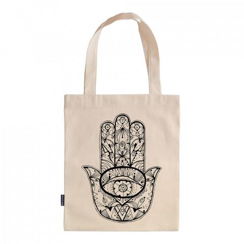 Fatıma's Hand tasarım baskılı ham bez çanta. 35x41. Hediyelik bez çanta modelleri. En güzel bez çantalar. Fatmanın Eli desenli bez çantalar. Organik baskılı bez çanta.