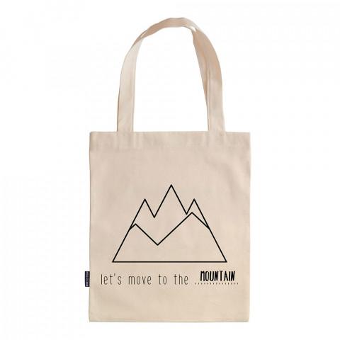 Let's Move To The Mountain tasarım baskılı ham bez çanta. 35x41. Hediyelik bez çanta modelleri. En güzel bez çantalar. Dayanıklı bez çantalar. Organik baskılı bez çanta.