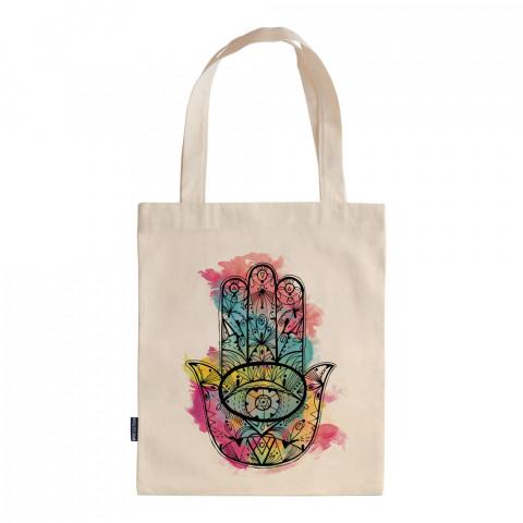 Fatıma's Hand (colored) tasarım baskılı ham bez çanta. 35x41. Hediyelik bez çanta modelleri. En güzel bez çantalar. Fatmanın Eli desenli bez çantalar. Baskılı bez çanta.