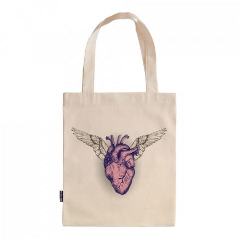 A Living Heart tasarım baskılı ham bez çanta. 35x41. Hediyelik bez çanta modelleri. En güzel bez çantalar. Modaya uygun bez çantalar. Organik baskılı bez çanta.