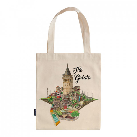 The Galata tasarım baskılı ham bez çanta. 35x41. Hediyelik bez çanta modelleri. En güzel bez çantalar. Dayanıklı, modaya uygun bez çantalar. Organik baskılı bez çanta.