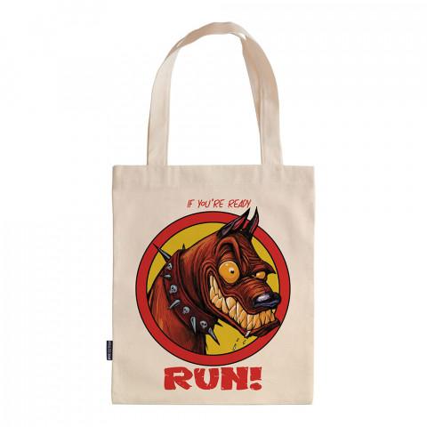 Ready To Run tasarım baskılı ham bez çanta. 35x41. Hediyelik bez çanta modelleri. En güzel bez çantalar. Dayanıklı, köpekli bez çanta. Organik baskılı bez çanta.