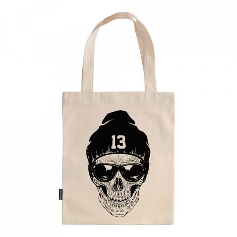 RNB Skull tasarım baskılı ham bez çanta. 35x41. Hediyelik bez çanta modelleri. En güzel bez çantalar. Dayanıklı, kuru kafa baskılı bez çanta. Organik baskılı bez çanta.