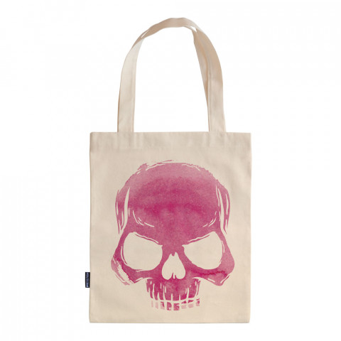 Skull Cloud (Pink) tasarım baskılı ham bez çanta. 35x41. Hediyelik bez çanta modelleri. En güzel bez çantalar. Dayanıklı, modaya uygun bez çantalar. Kurukafalı bez çanta.