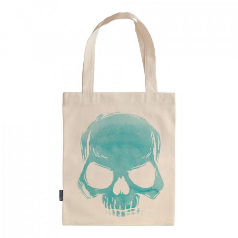 Skull Cloud (Turquoise) tasarım baskılı ham bez çanta. 35x41. Hediyelik bez çanta modelleri. En güzel bez çantalar. Kuru kafalı bez çantalar. Organik baskılı bez çanta.