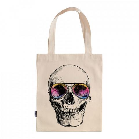 Bodrum Skull tasarım baskılı ham bez çanta. 35x41. Hediyelik bez çanta modelleri. En güzel bez çantalar. Dayanıklı, kuru kafalı bez çantalar. Organik baskılı bez çanta.