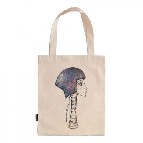 Space Girl tasarım baskılı ham bez çanta. 35x41. Hediyelik bez çanta modelleri. En güzel bez çantalar. Dayanıklı, uzay desenli bez çantalar. Organik baskılı bez çanta.