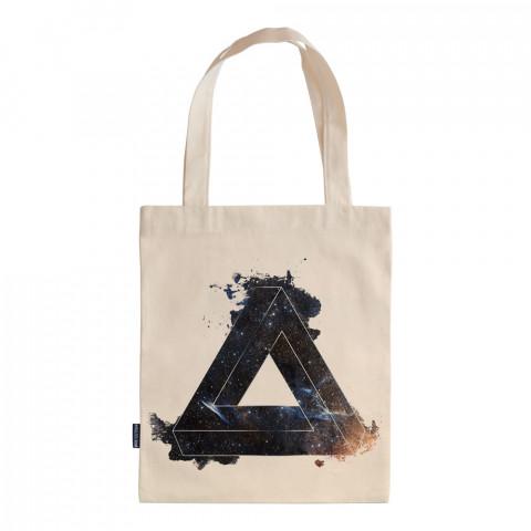 Space Triangle tasarım baskılı ham bez çanta. 35x41. Hediyelik bez çanta modelleri. En güzel bez çantalar. Dayanıklı, üçgen desenli bez çanta. Organik baskılı bez çanta.