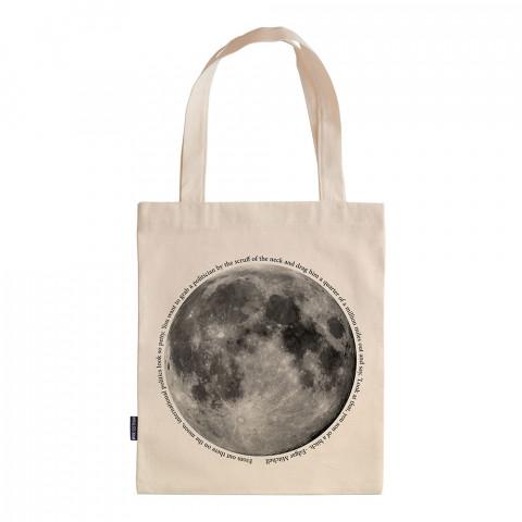 Moon Geo tasarım baskılı ham bez çanta. 35x41. Hediyelik bez çanta modelleri. En güzel bez çantalar. Dayanıklı, ay resimli bez çanta. Organik baskılı bez çanta.