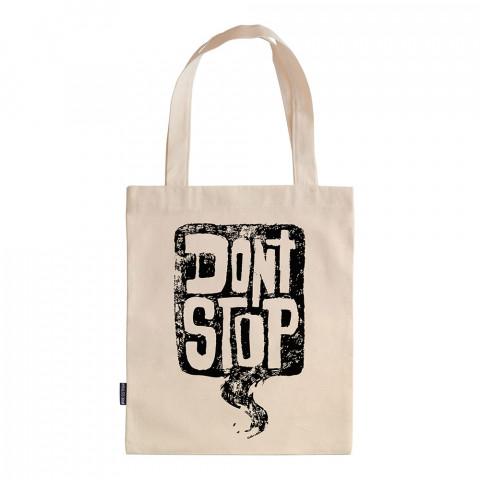 Don't Stop tasarım baskılı ham bez çanta. 35x41. Hediyelik bez çanta modelleri. En güzel bez çantalar. Dayanıklı, modaya uygun bez çantalar. Organik baskılı bez çanta.