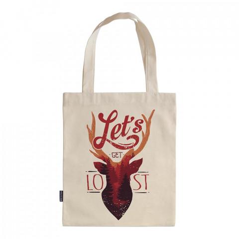 Let's Get Lost tasarım baskılı ham bez çanta. 35x41. Hediyelik bez çanta modelleri. En güzel bez çanta. Dayanıklı, geyik desenli bez çantalar. Organik baskılı bez çanta.