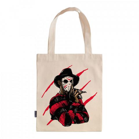 Freddy Krueger Jason Killer tasarım baskılı ham bez çanta. 35x41. Hediyelik bez çanta modelleri. En güzel bez çantalar. Dayanıklı bez çantalar. Organik baskılı bez çanta.