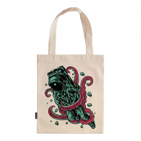 Alien Octopus tasarım baskılı ham bez çanta. 35x41. Hediyelik bez çanta modelleri. En güzel bez çantalar. Astronot uzay desenli bez çantalar. Organik baskılı bez çanta.