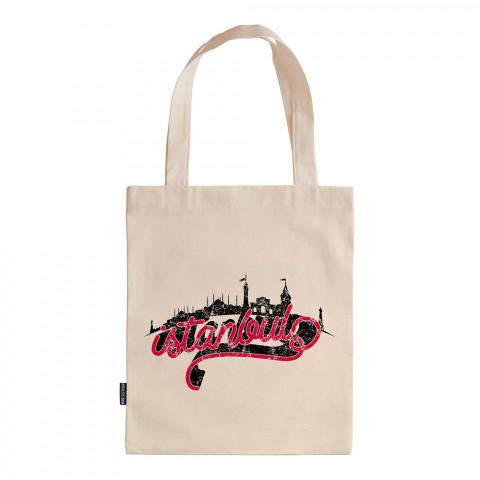 İstanbul Skyline tasarım baskılı ham bez çanta. 35x41. Hediyelik bez çanta modelleri. En güzel bez çantalar. Dayanıklı bez çantalar. Organik baskılı bez çanta.