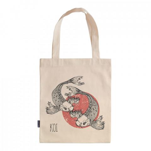 Koi Fishes tasarım baskılı ham bez çanta. 35x41. Hediyelik bez çanta modelleri. En güzel bez çantalar. Dayanıklı, modaya uygun bez çantalar. Organik baskılı bez çanta.