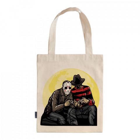 Time Killers tasarım baskılı ham bez çanta. 35x41. Hediyelik bez çanta modelleri. En güzel bez çantalar. Freddy vs Jason baskılı bez çantalar. Organik baskılı bez çanta.