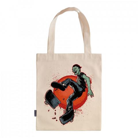 Skate Like A Zombie tasarım baskılı ham bez çanta. 35x41. Hediyelik bez çanta modelleri. En güzel bez çantalar. Zombi desenli bez çanta. Organik baskılı bez çanta.