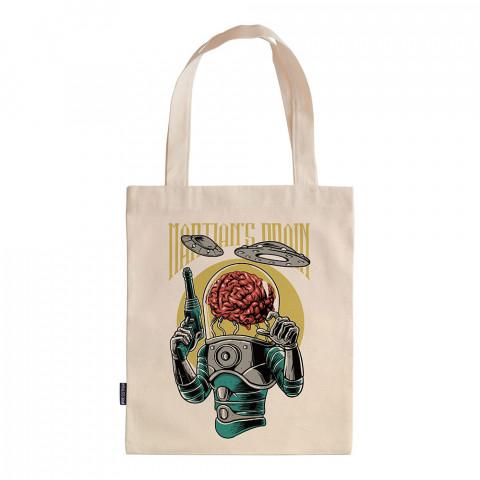 Brain Infestation tasarım baskılı ham bez çanta. 35x41. Hediyelik bez çanta modelleri. En güzel bez çantalar. Uzaylı desenli bez çantalar. Organik baskılı bez çanta.