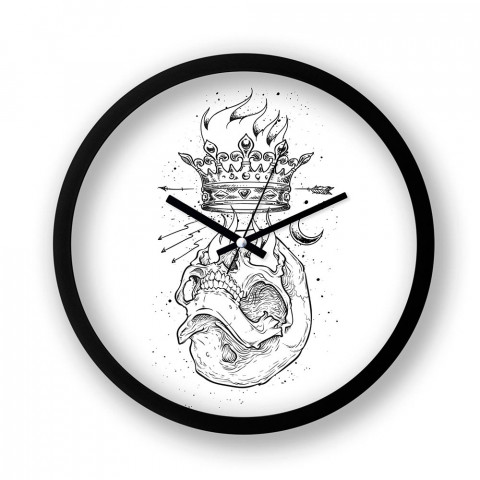 Crown Ambition resimli siyah duvar saati. Presstish tasarım baskılı duvar saati. Sessiz akar duvar saati. En güzel duvar saatleri. Hediyelik, kuru kafalı duvar saati.