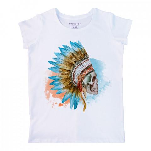 American Indian Skull baskılı tasarım tişört. %100 pamuklu baskılı bayan tişört. Presstish tasarım baskılı tişört. Hediyelik kadın tişört. Tişört baskı. Baskılı tshirt.