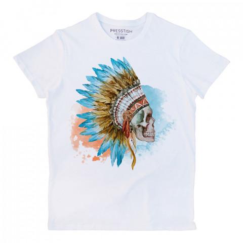 American Indian Skull baskılı tasarım tişört. %100 pamuklu baskılı tişört. Presstish erkek tasarım baskılı tişört çeşitleri. Hediyelik tasarım tshirt. Tişört baskı.
